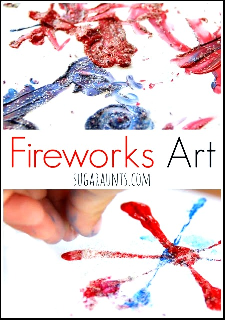 Stamped fireworks art! This is perfect for fourth of july, memorial day, and any day with fireworks!