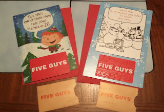 Five Guys Gift Cards & Christmas Cards for Teen Grandsons