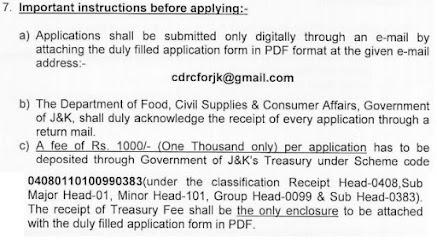 Food Supplies & Consumers Affairs Jammu & Kashmir Recruitment