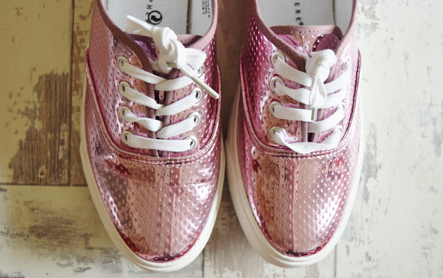 pink metallic trainers