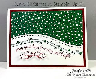 Curvy Christmas/Curvy Celebrations by Stampin' Up!® This Christmas card uses the Classic Christmas designer paper and Curvy Dies.  Click on the photo to go to the blog and see the video.  #StampinUp #StampTherapist