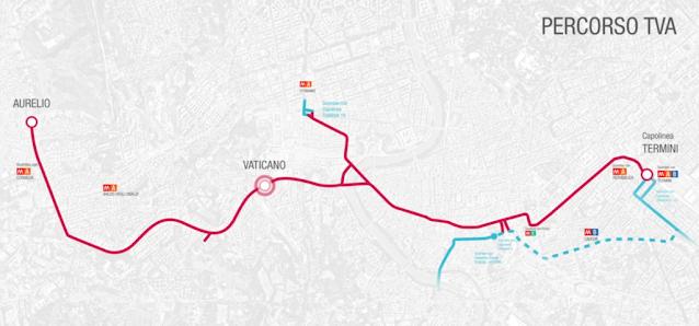 Ecco il percorso del tram da Termini al Vaticano