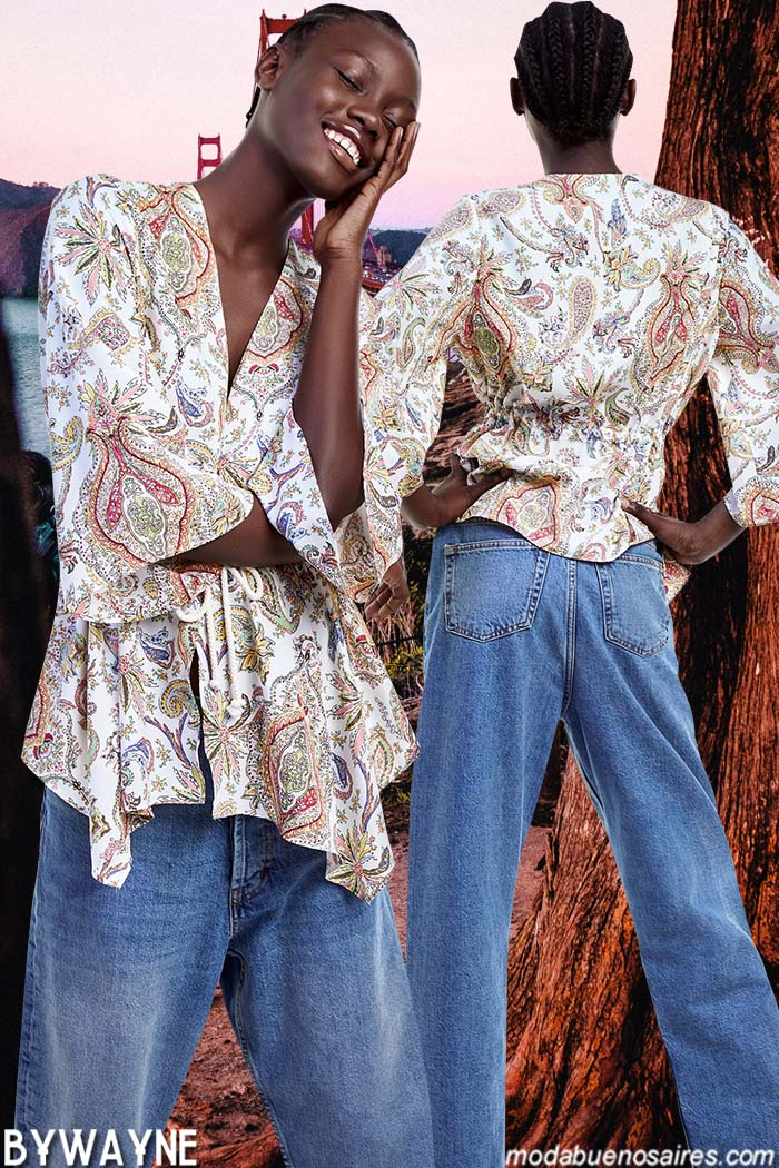 Tendencias de moda 2020: blusas de cortes irregulares primavera verano 2020.