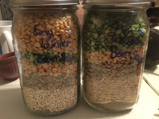 Easy barley & lentil soup, easy winter chili in a jar, easy bean stew recipe, winter chili recipe, legume recipe, mixes-in-a-jar recipe, winter bean soup recipe, winter bean soup in a jar