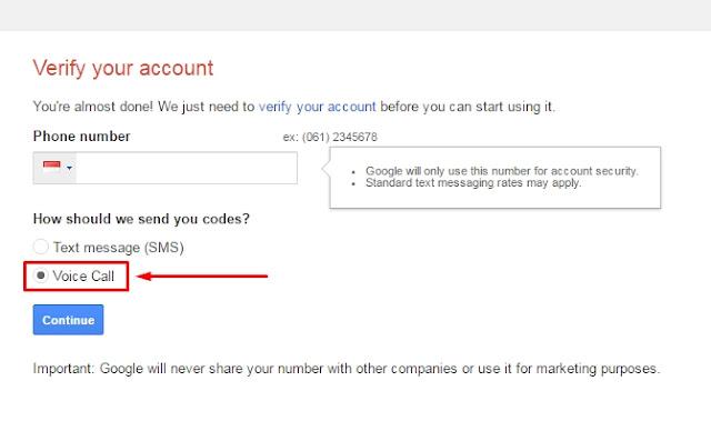 Cara verifikasi nomor telepon daftar saat Gmail