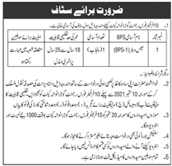 Pak Army Frontier Force Regiment Gujranwala Jobs 2021 in Pakistan