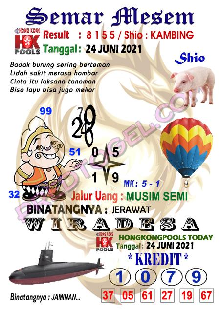 Syair HK Semar Mesem Jumat 25 Juni 2021