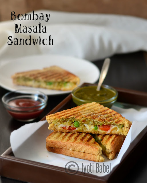 Bombay Masala Sandwich Recipe | A very popular roadside snack from the city of Mumbai, India. www.jyotibabel.com. Check the recipe to know how to make Bombay Masala Sandwich