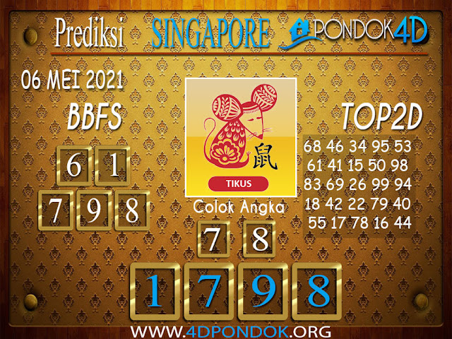 Prediksi Togel SINGAPORE PONDOK4D 06 MEI 2021