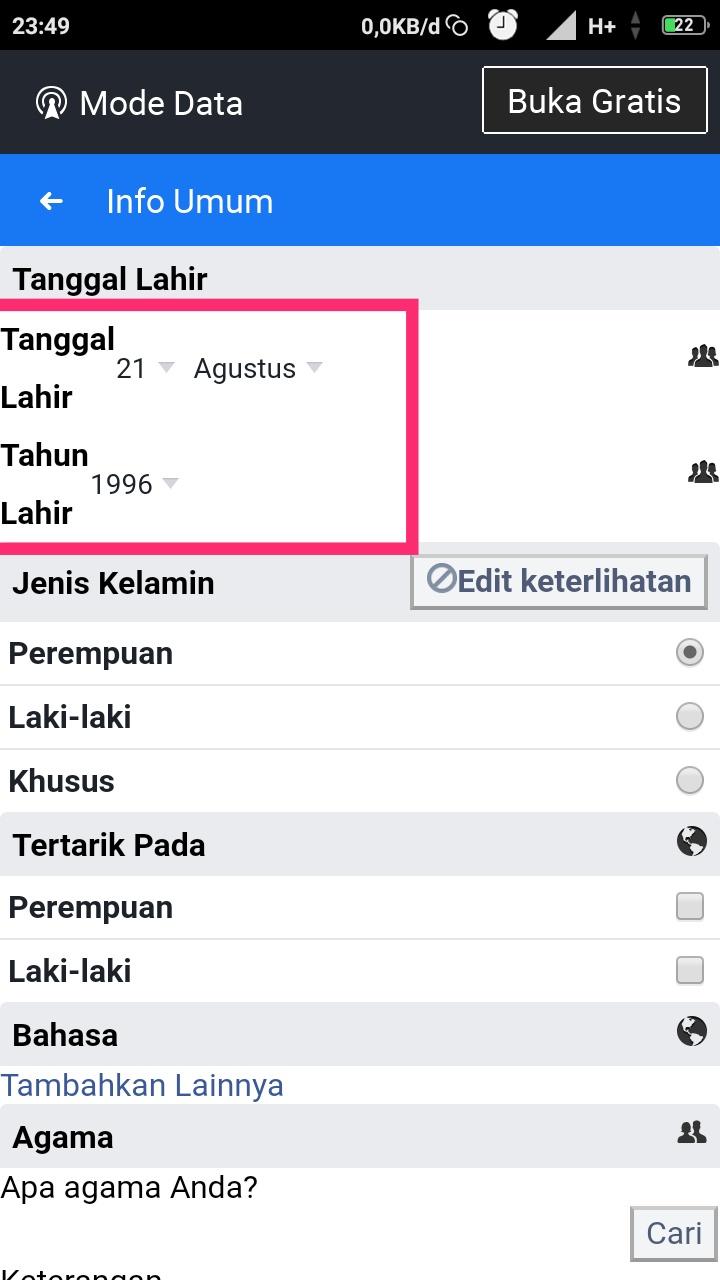Mengubah tanggal lahir di facebook