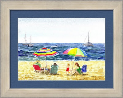 Watercolor of two umbrellas on the beach landscape art