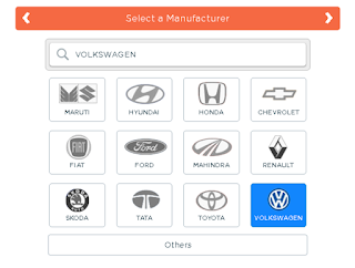 Select vehicle manufacturer,showing various vehicle manufacture company's like maruthi,Hundai,honda,chevorlet,fiat,ford,mahindra,renault,skoda,tata,toyota,volkswagen,