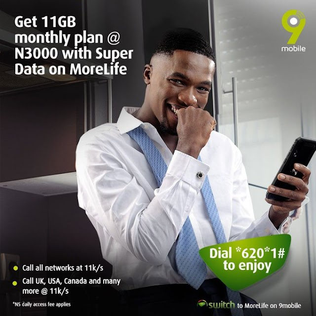 Get 11GB for N3000 and 11k/sec Flat Rate Calls on 9mobile Morelife