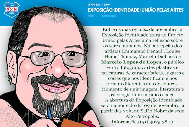 Marcelo Lopes de Lopes com a Exposição de Caricaturas no GNU