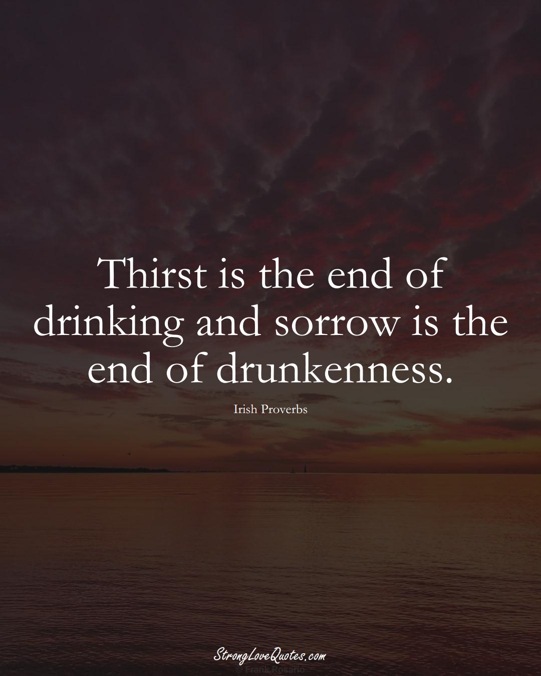 Thirst is the end of drinking and sorrow is the end of drunkenness. (Irish Sayings);  #EuropeanSayings
