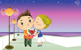 Gambar kartun sedang mencium romantis