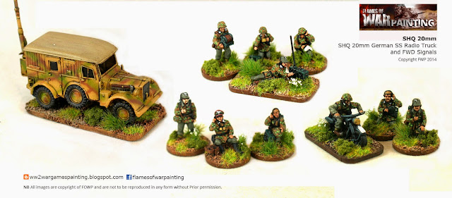 SHQ 20mm SS Radio Truck and foeward Signals Painting by Flames of War Painting