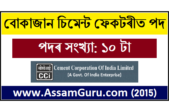 Bokajan Cement Factory, Assam job 2020