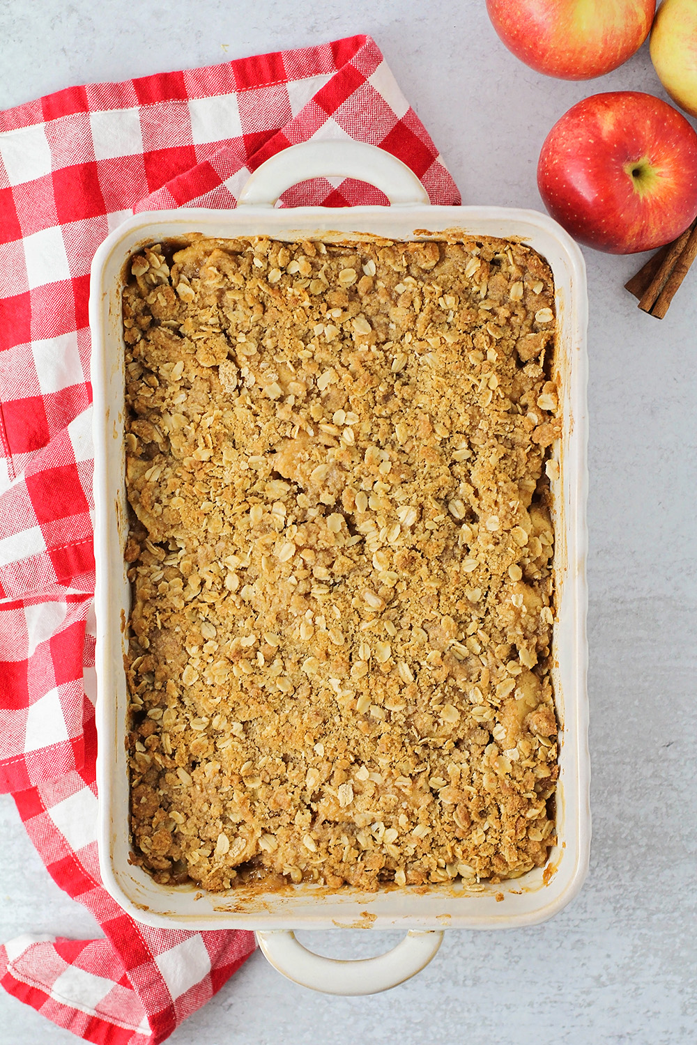 This delicious apple crisp has tender juicy apples topped with buttery and sweet crisp topping. It's the perfect fall dessert!