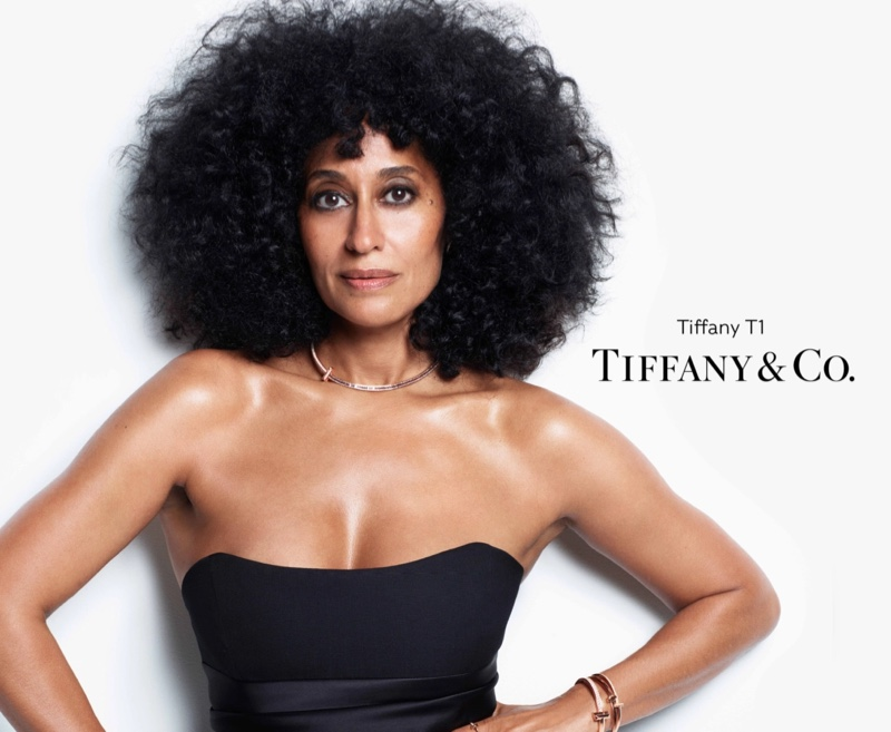 Tracee Ellis Ross poses for Tiffany & Co. Tiffany T1 2021 campaign.