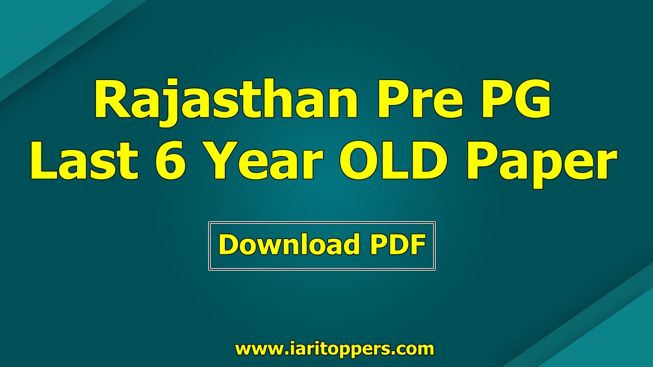 Rajasthan Pre PG Agriculture Old Question Paper PDF Download