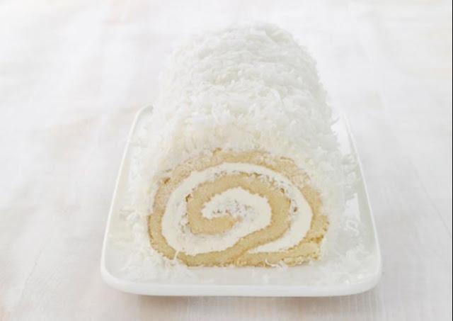 Coconut Cake Roll #cake #desserts