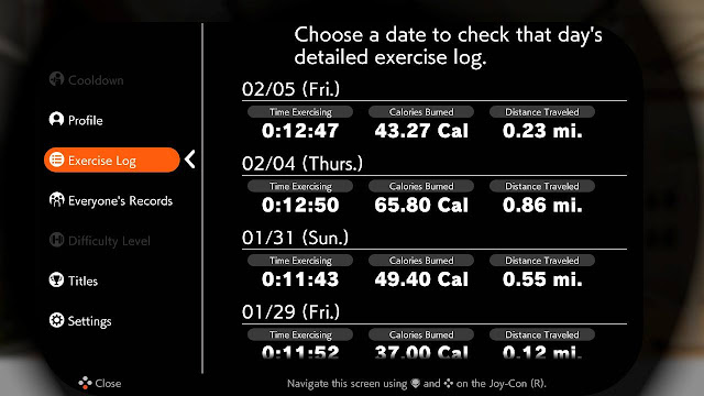 Ring Fit Adventure World 26 exercise log Extra Fitness Level 184
