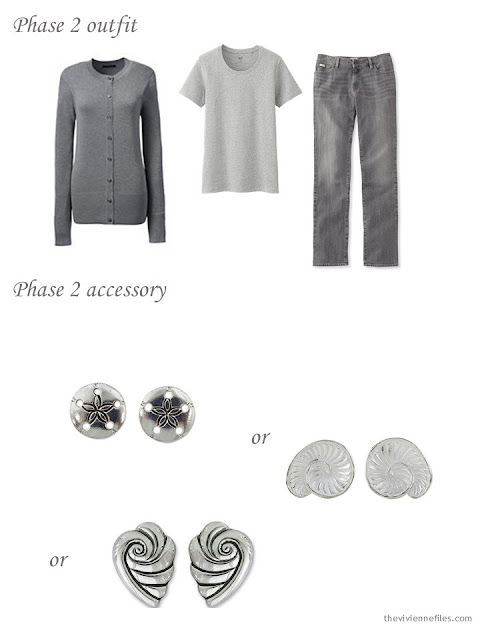 grey outfit, with a choice of seashell-inspired stud earrings