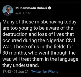 The Twit made by Nigeria president that was removed