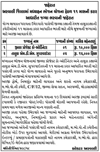 Mid Day Meal Project Aravalli Recruitment 2019 for District Project Coordinator & MDM Supervisor Posts
