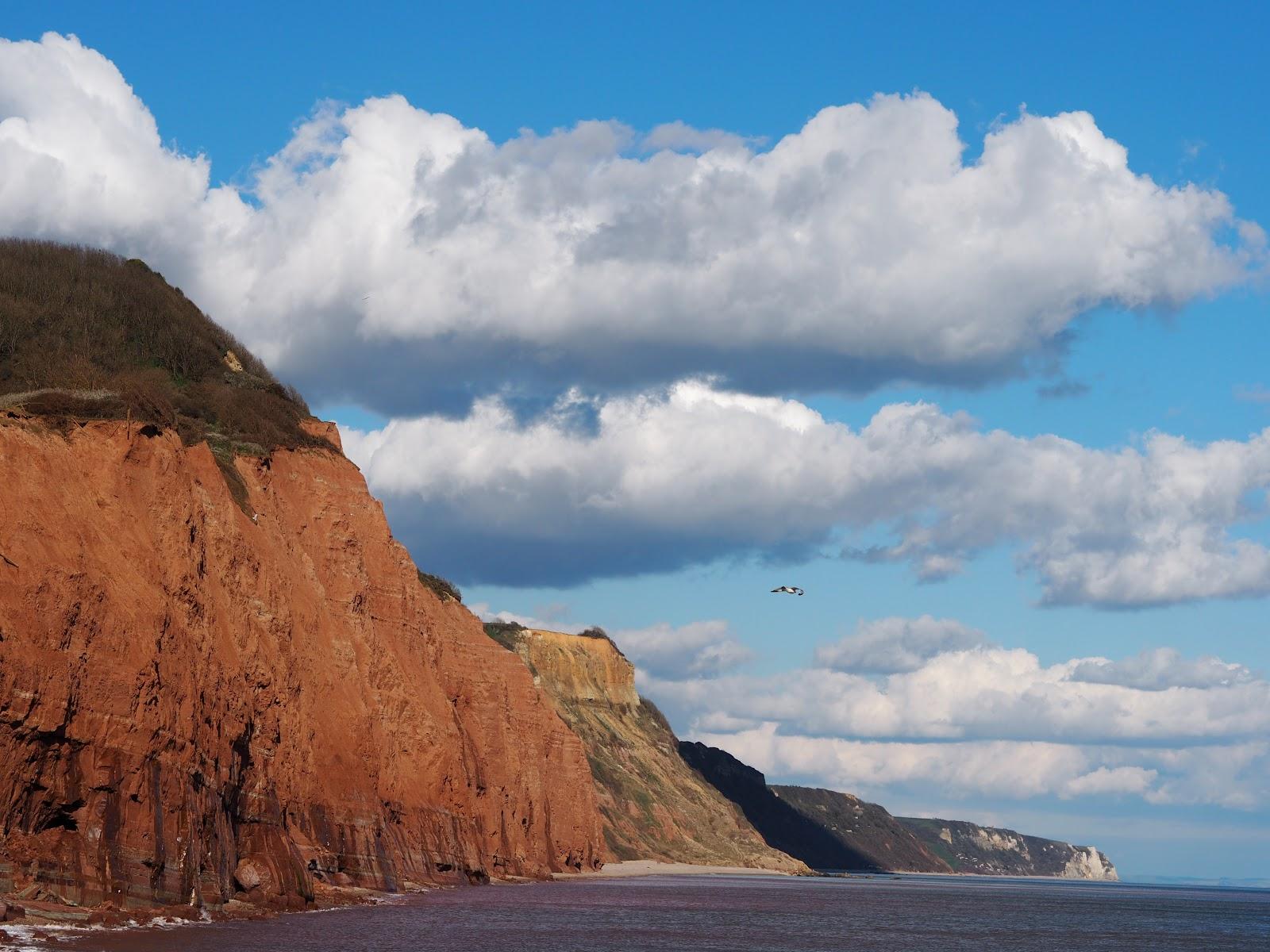 Jurassic Coastline with bright blue sky