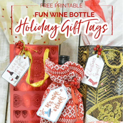 Fun Free Printable Christmas Wine Bottle Tags