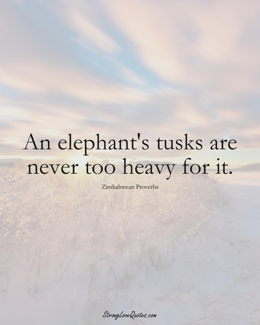 An elephant's tusks are never too heavy for it. (Zimbabwean Sayings);  #AfricanSayings
