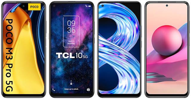 Xiaomi POCO M3 Pro 5G vs TCL 10 5G vs Realme 8 vs Xiaomi Redmi Note 10S