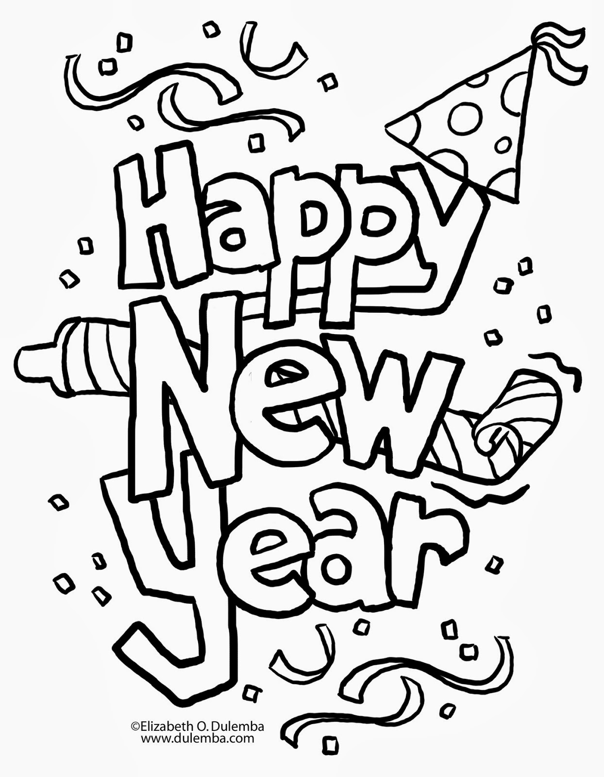 new years coloring pages free - photo#17