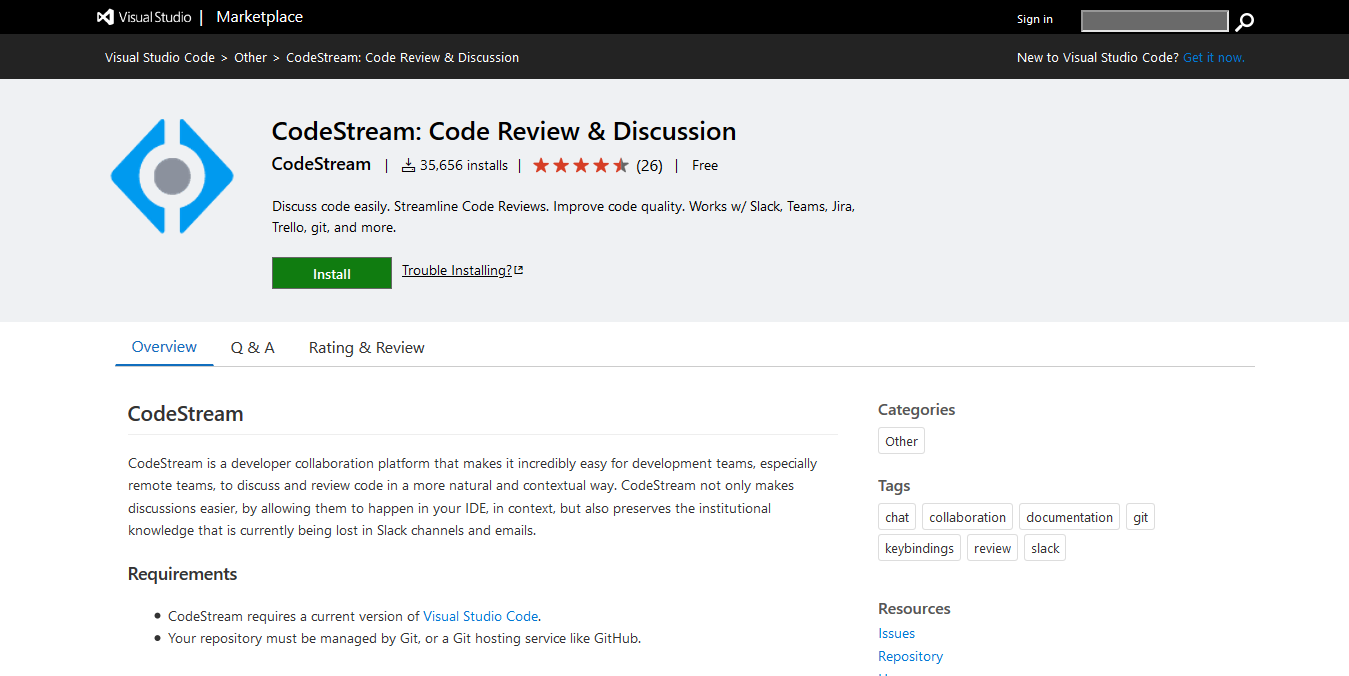 CodeStream: Code Review & Discussion