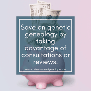 Save on genetic genealogy (DNA) by taking advantage of consultations and reviews.