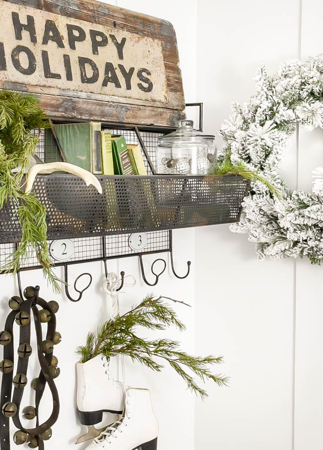 Vintage neutral styled Christmas shelves