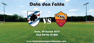 Data dan Fakta Liga Fantasia Serie A Roma vs Sampdoria Fantasi Manager Indonesia