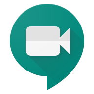 blue colored google meet logo