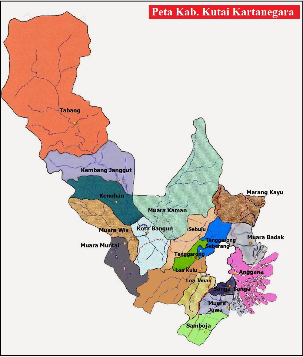 Peta Kabupaten Kutai Kartanegara