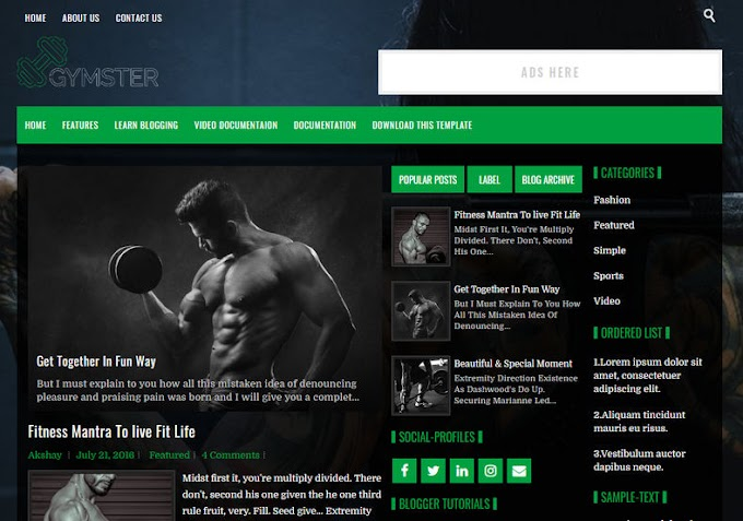 Gymster Blogger Templates - Giao diện bloger 2019
