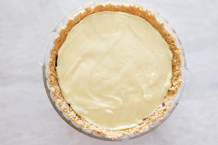 pastry cream layer atop chocolate