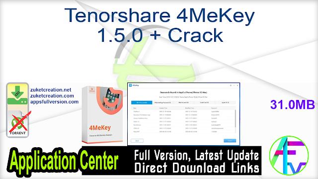 Tenorshare 4MeKey 1.5.0 + Crack
