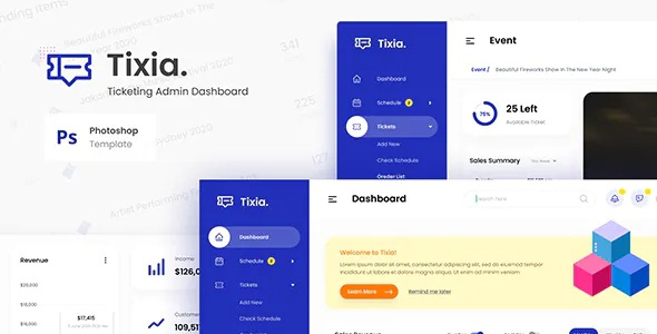 Best Ticketing Admin Dashboard User Interface PSD Template