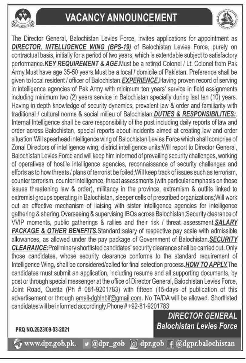 Levies Force Jobs 2021 - Balochistan Levies Force Jobs 2021 - BLF Jobs 2021 - Online Apply - email-dgblnblf@gmail.com - Legal Consultant Jobs 2021 - Director Counter Terrorism Wing Jobs 2021 - Director Intelligence Wing Jobs 2021