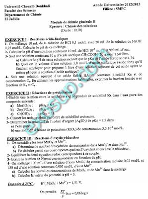 examens corrigés réaction chimique smpc s2 fsj