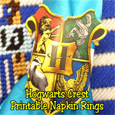 Keep your house necessities together with these printable Hogwarts crest napkin rings. These printable napkin rings are a great addition to your Harry Potter dinner party.  You can use them to coral those napkins, silverware, or even wrap them around cups and glasses to keep the Hogwarts spirit alive and well at your party. #napkinring #printableparty #harrypotter #hogwarts #diypartymomblog