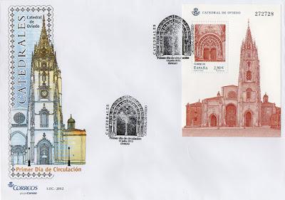 sobre, Hoja Bloque, catedral, Oviedo