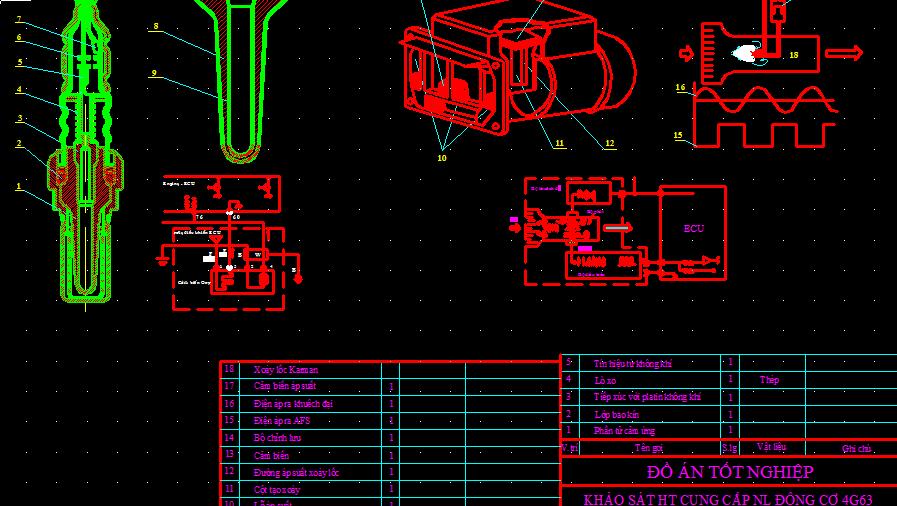 Bản vẽ đồ án khảo sát hệ thống cung cấp nhiên liệu động cơxe Mitsubishi